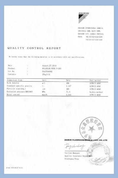 PTFE hose Quality control report